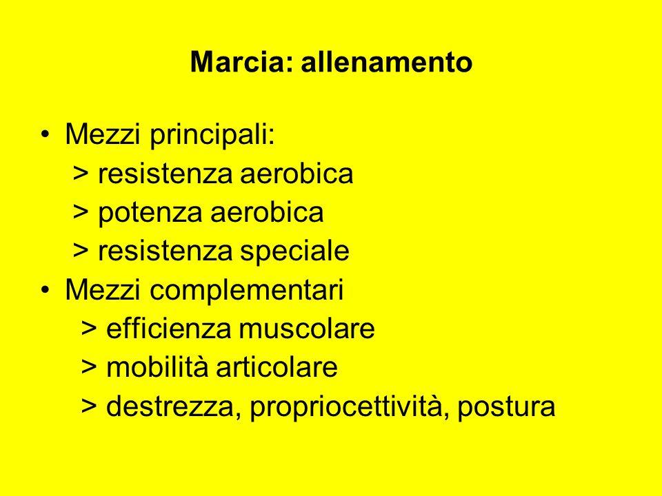 Marcia: allenamento Mezzi principali: > resistenza aerobica. > potenza aerobica. > resistenza speciale.