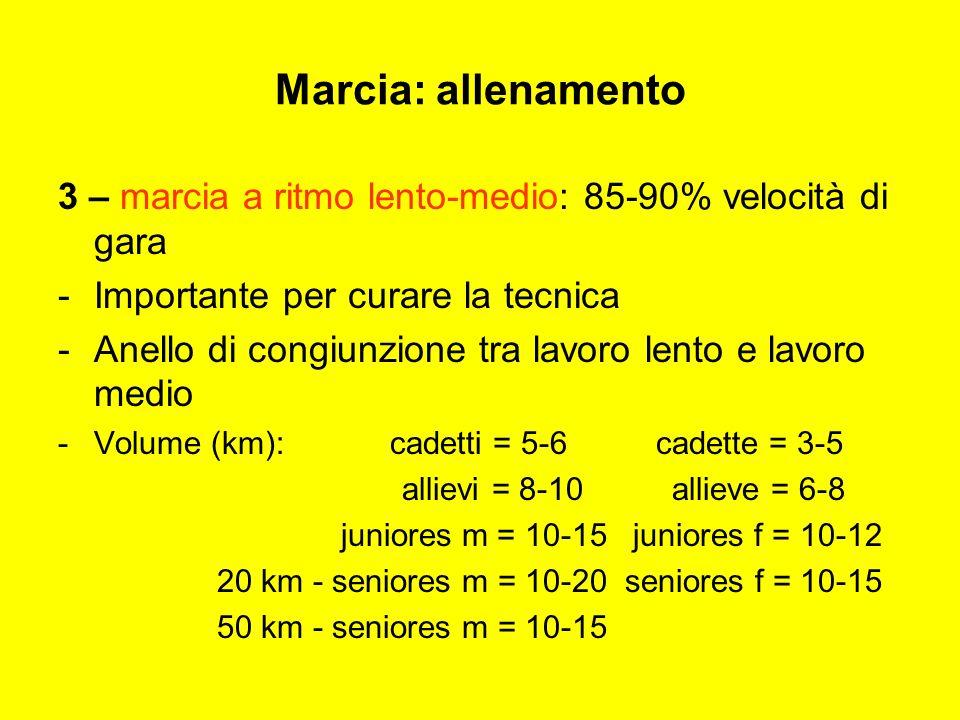 Marcia: allenamento 3 – marcia a ritmo lento-medio: 85-90% velocità di gara. Importante per curare la tecnica.
