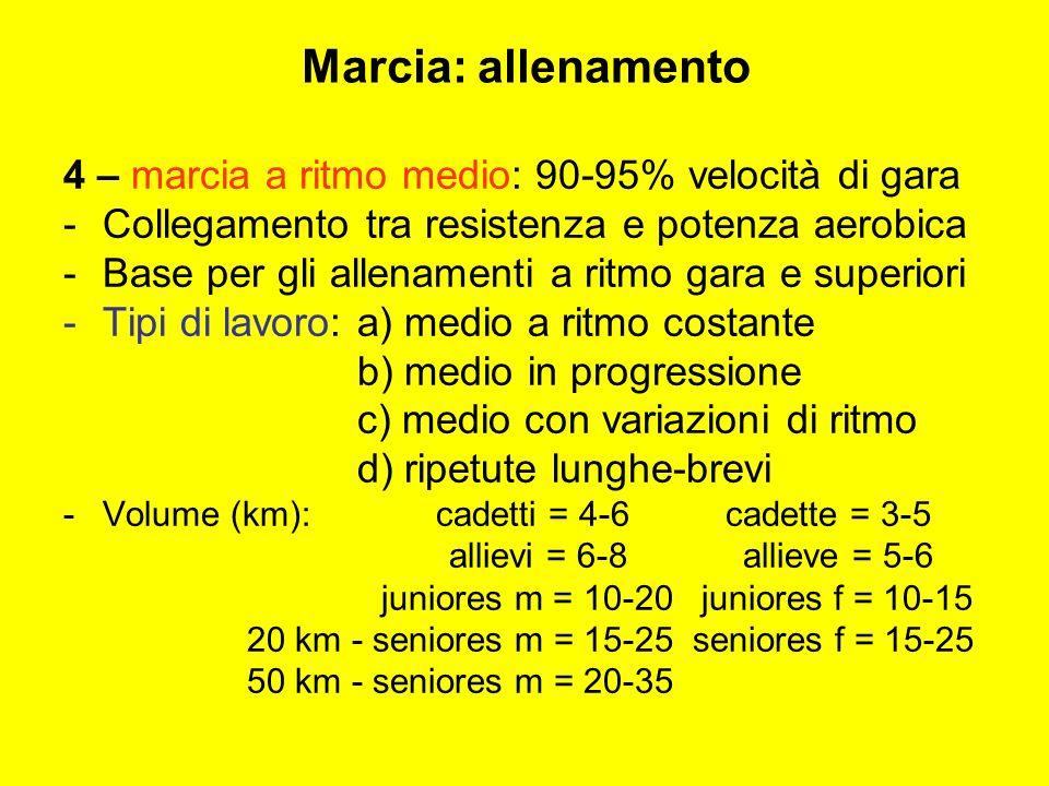 Marcia: allenamento 4 – marcia a ritmo medio: 90-95% velocità di gara