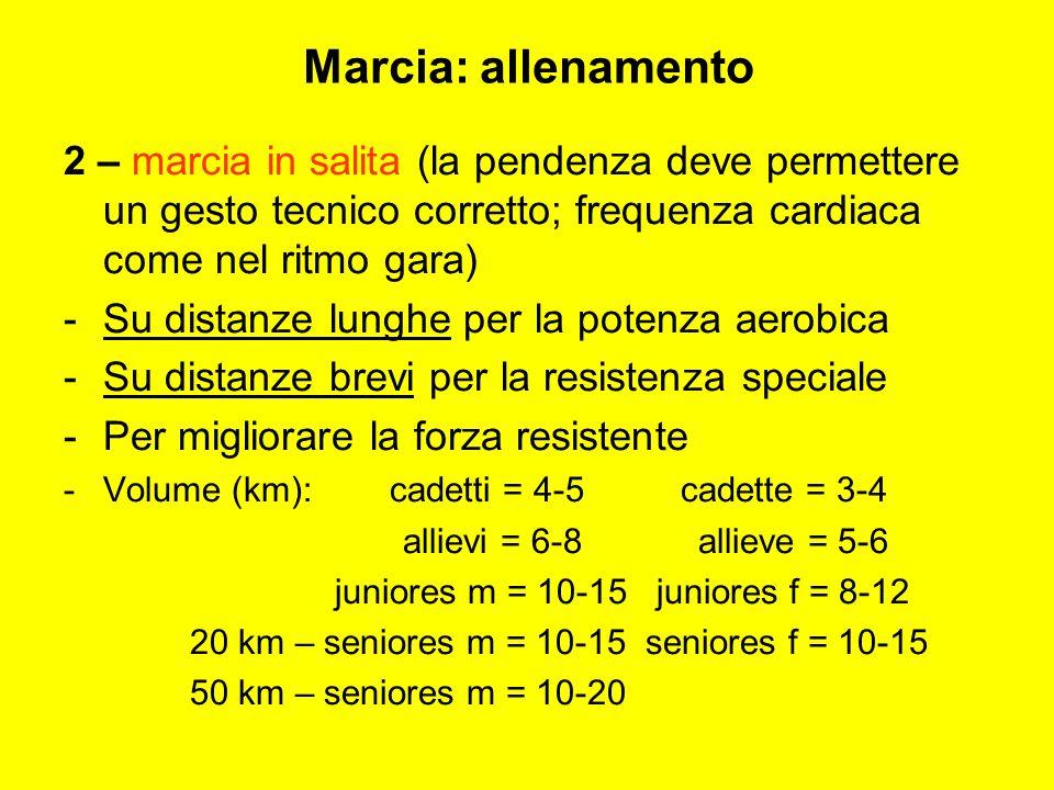 Marcia: allenamento 2 – marcia in salita (la pendenza deve permettere un gesto tecnico corretto; frequenza cardiaca come nel ritmo gara)