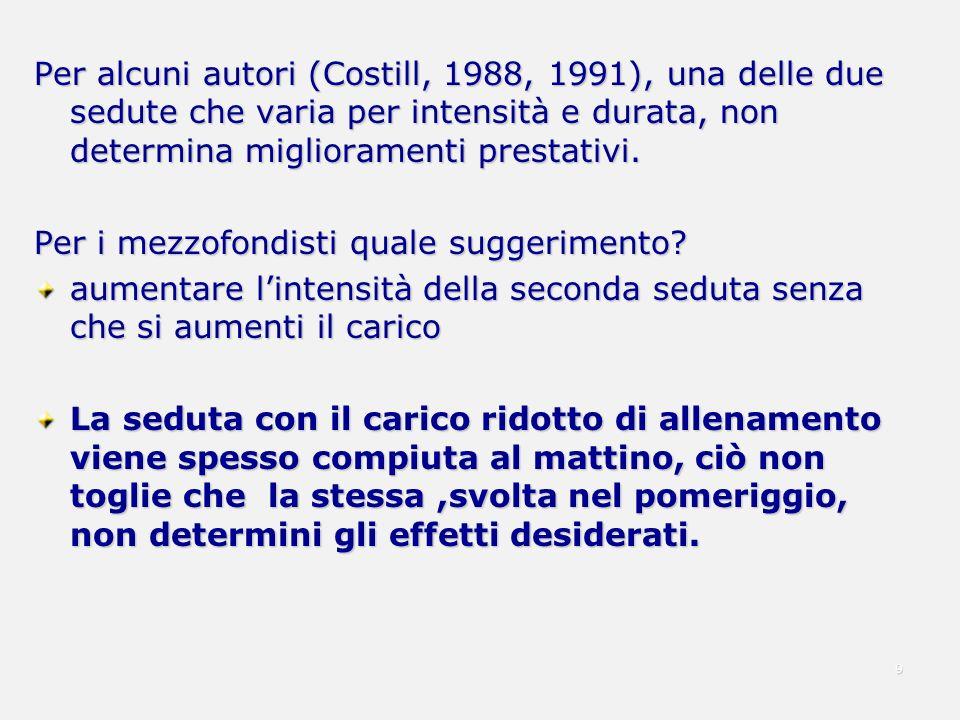 Per alcuni autori (Costill, 1988, 1991), una delle due sedute che varia per intensità e durata, non determina miglioramenti prestativi.