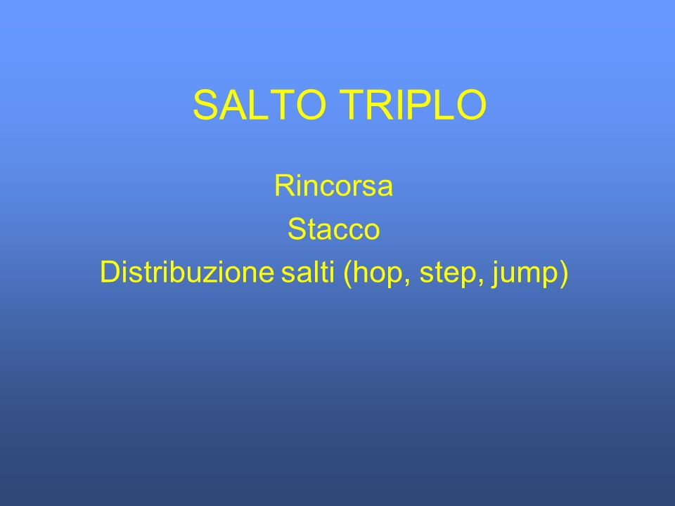 Rincorsa Stacco Distribuzione salti (hop, step, jump)
