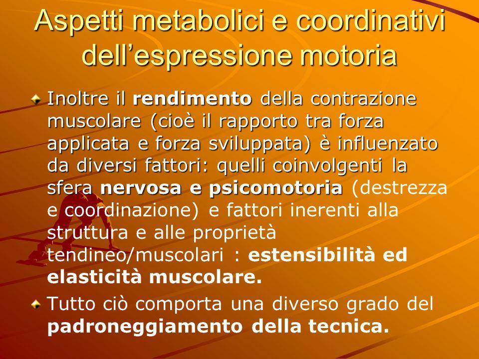 Aspetti metabolici e coordinativi dell'espressione motoria