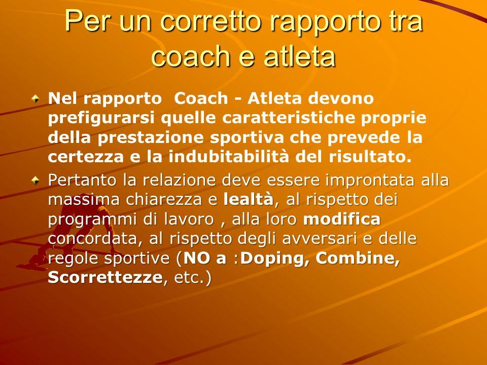 Per un corretto rapporto tra coach e atleta