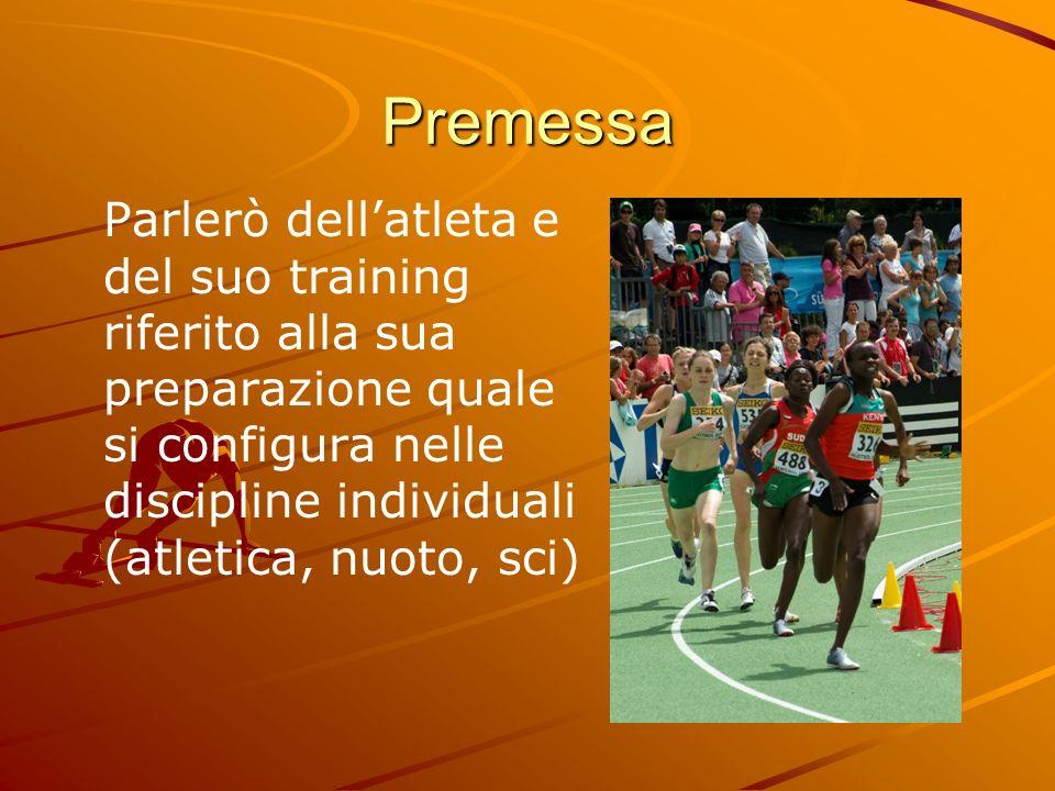 PremessaParlerò dell'atleta e del suo training riferito alla sua preparazione quale si configura nelle discipline individuali (atletica, nuoto, sci)