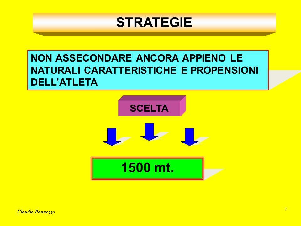 STRATEGIE NON ASSECONDARE ANCORA APPIENO LE NATURALI CARATTERISTICHE E PROPENSIONI DELL'ATLETA. SCELTA.