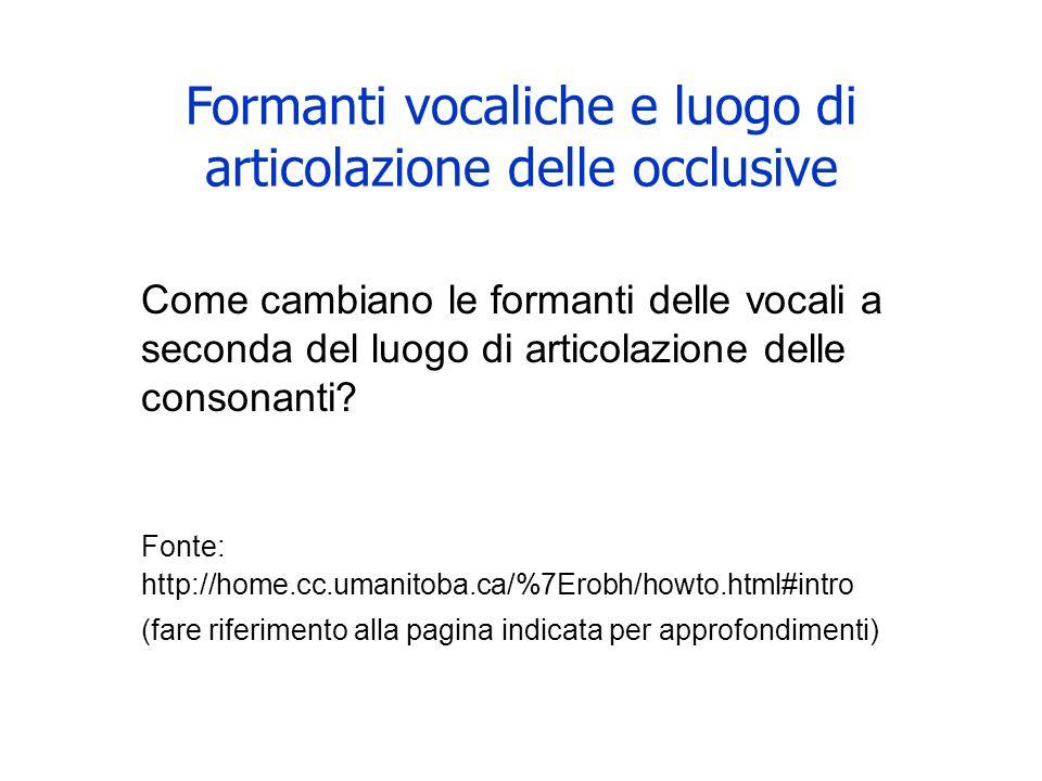 Formanti vocaliche e luogo di articolazione delle occlusive