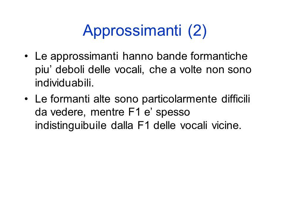 Approssimanti (2) Le approssimanti hanno bande formantiche piu' deboli delle vocali, che a volte non sono individuabili.