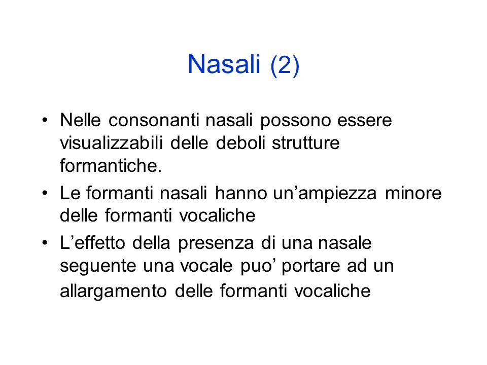 Nasali (2) Nelle consonanti nasali possono essere visualizzabili delle deboli strutture formantiche.