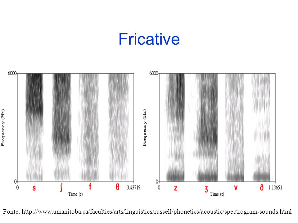 Fricative Fonte: http://www.umanitoba.ca/faculties/arts/linguistics/russell/phonetics/acoustic/spectrogram-sounds.html.