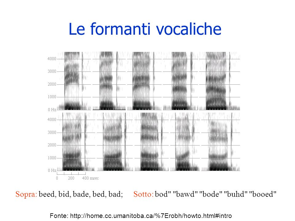 Le formanti vocaliche Sopra: beed, bid, bade, bed, bad; Sotto: bod bawd bode buhd booed