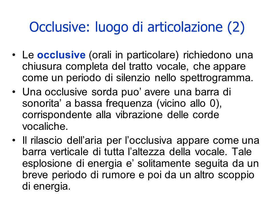Occlusive: luogo di articolazione (2)