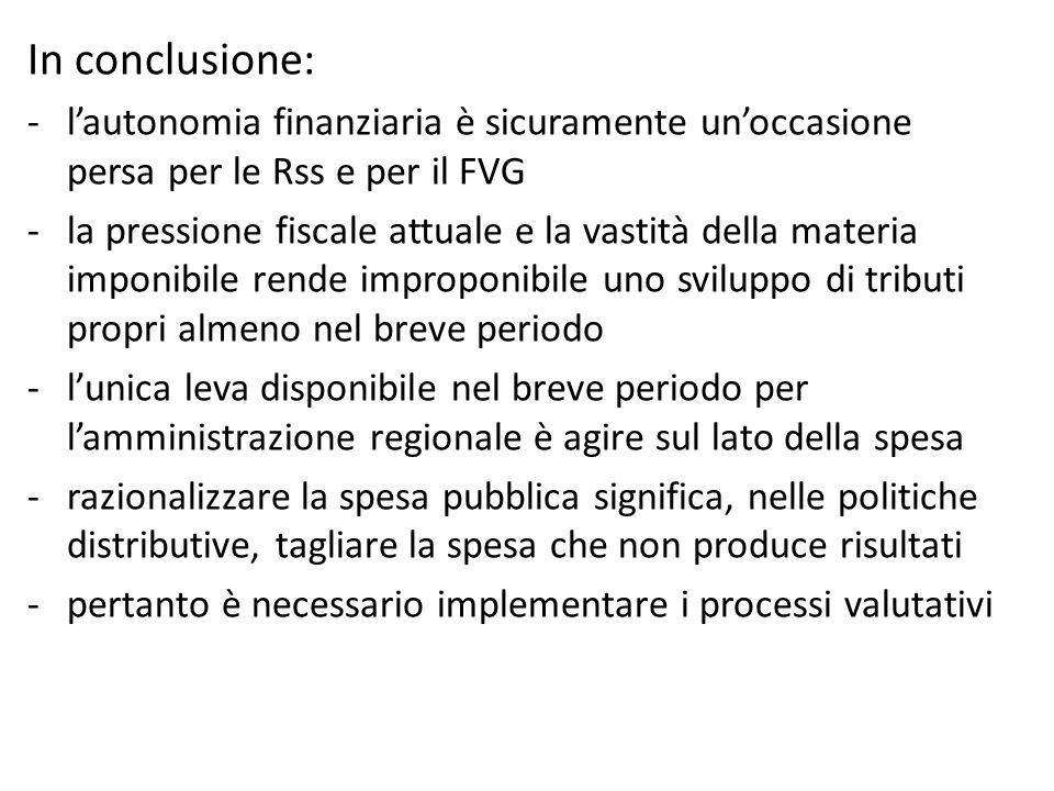 In conclusione: l'autonomia finanziaria è sicuramente un'occasione persa per le Rss e per il FVG.