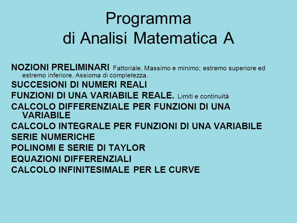 Programma di Analisi Matematica A