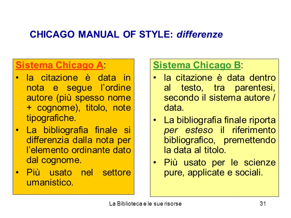 CHICAGO MANUAL OF STYLE: differenze
