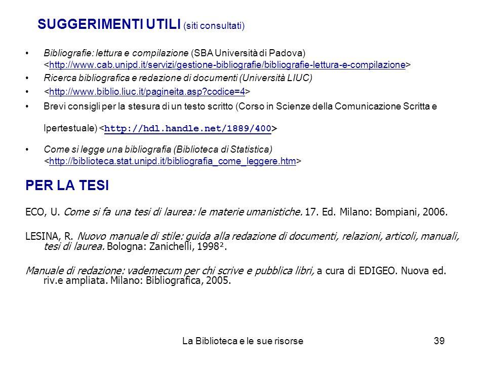 SUGGERIMENTI UTILI (siti consultati)