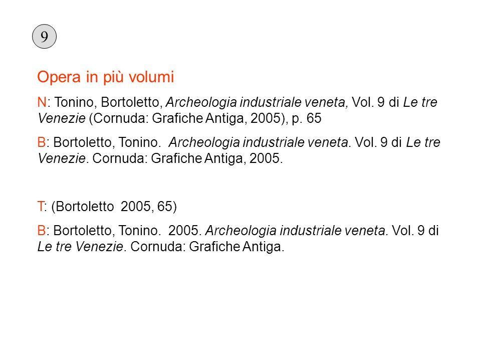 9 Opera in più volumi. N: Tonino, Bortoletto, Archeologia industriale veneta, Vol. 9 di Le tre Venezie (Cornuda: Grafiche Antiga, 2005), p. 65.