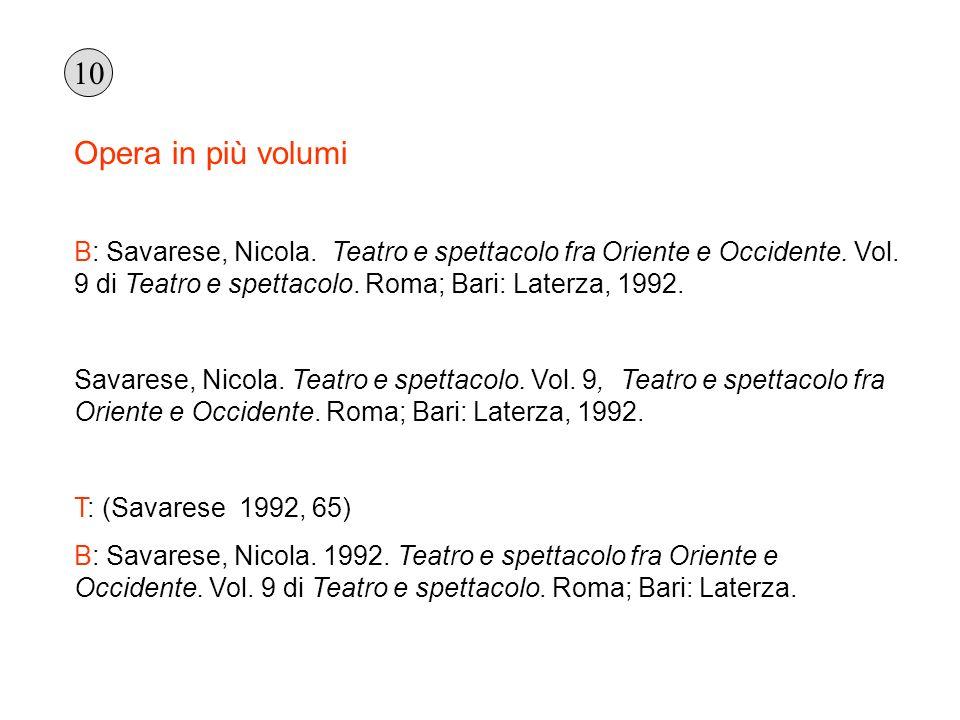 10 Opera in più volumi. B: Savarese, Nicola. Teatro e spettacolo fra Oriente e Occidente. Vol. 9 di Teatro e spettacolo. Roma; Bari: Laterza, 1992.
