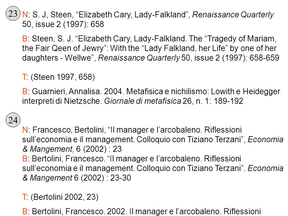 23 N: S. J, Steen, Elizabeth Cary, Lady-Falkland , Renaissance Quarterly 50, issue 2 (1997): 658.