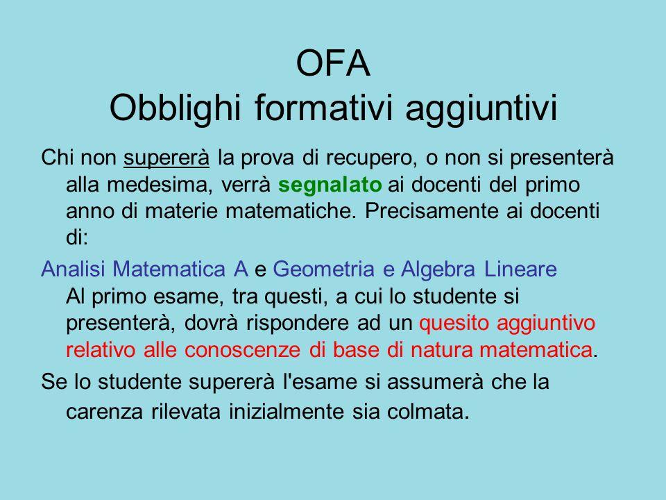 OFA Obblighi formativi aggiuntivi