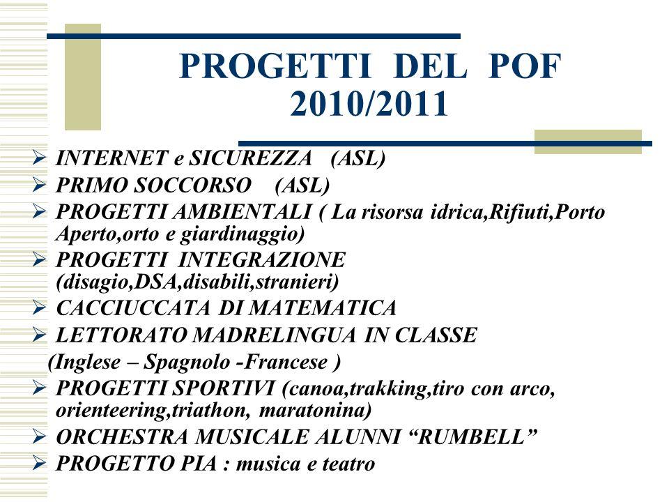 PROGETTI DEL POF 2010/2011 INTERNET e SICUREZZA (ASL)