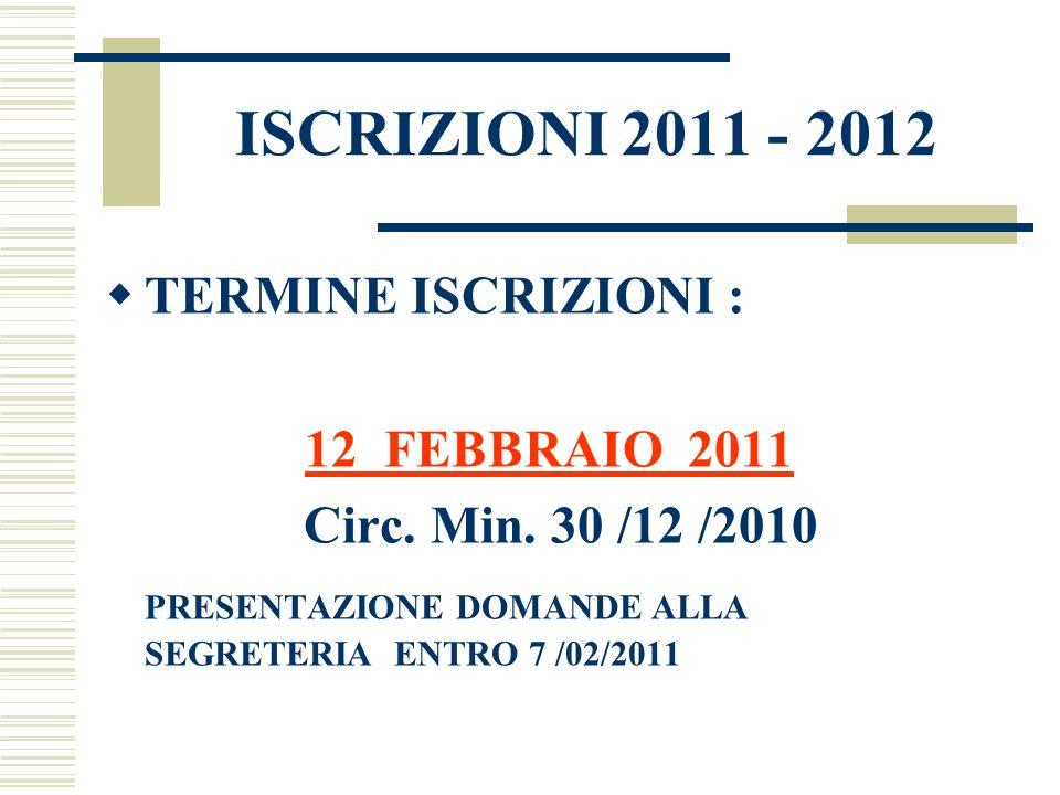 ISCRIZIONI 2011 - 2012 TERMINE ISCRIZIONI : Circ. Min. 30 /12 /2010
