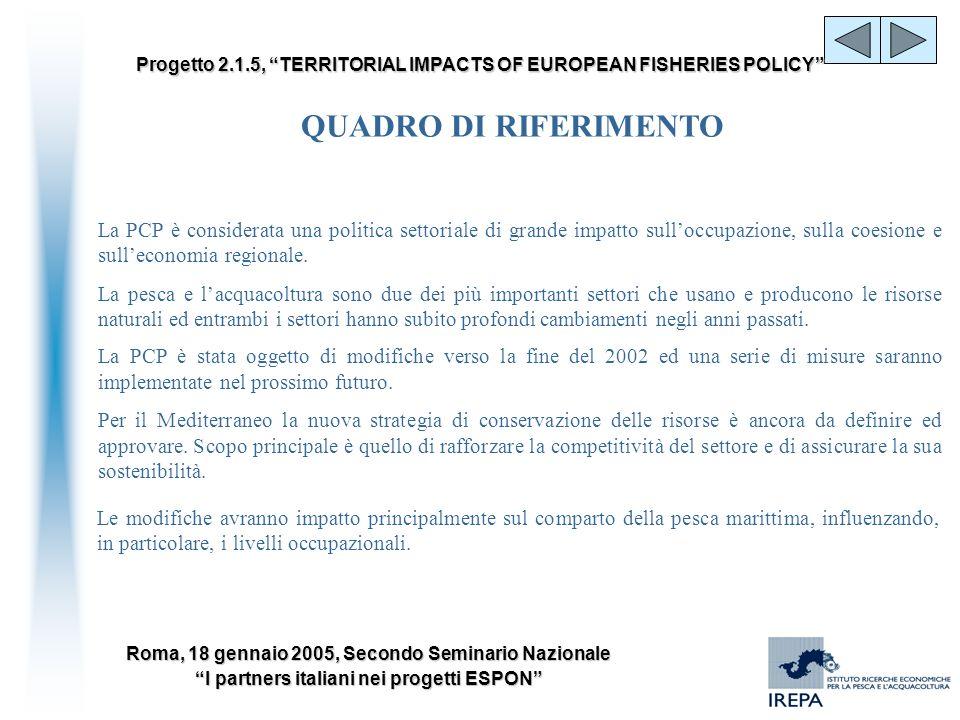 QUADRO DI RIFERIMENTO La PCP è considerata una politica settoriale di grande impatto sull'occupazione, sulla coesione e sull'economia regionale.