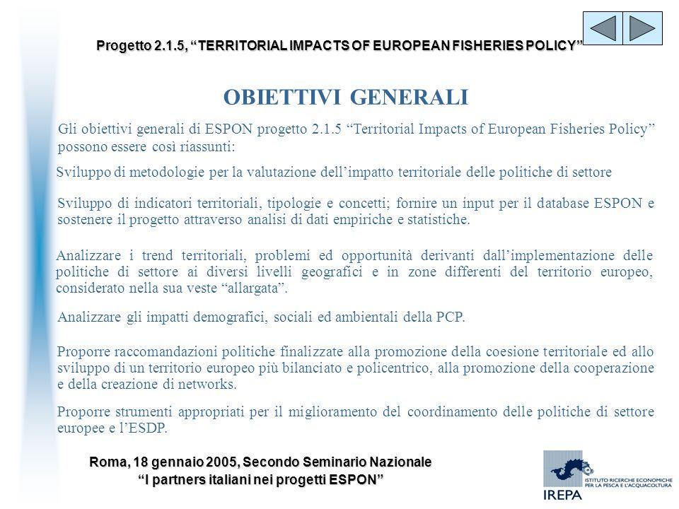 OBIETTIVI GENERALI Gli obiettivi generali di ESPON progetto 2.1.5 Territorial Impacts of European Fisheries Policy possono essere così riassunti: