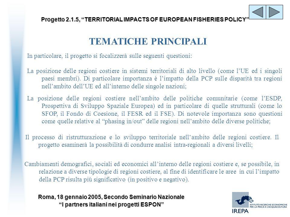 TEMATICHE PRINCIPALIIn particolare, il progetto si focalizzerà sulle seguenti questioni: