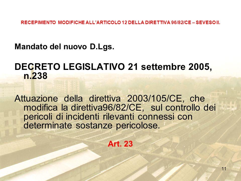 DECRETO LEGISLATIVO 21 settembre 2005, n.238