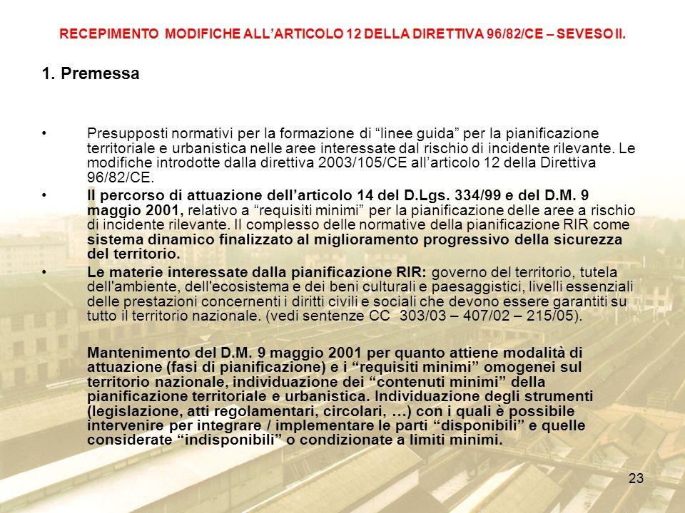 RECEPIMENTO MODIFICHE ALL'ARTICOLO 12 DELLA DIRETTIVA 96/82/CE – SEVESO II.