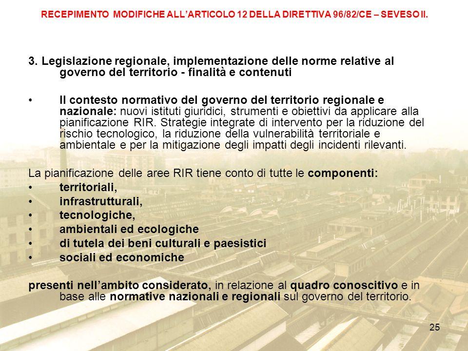 La pianificazione delle aree RIR tiene conto di tutte le componenti: