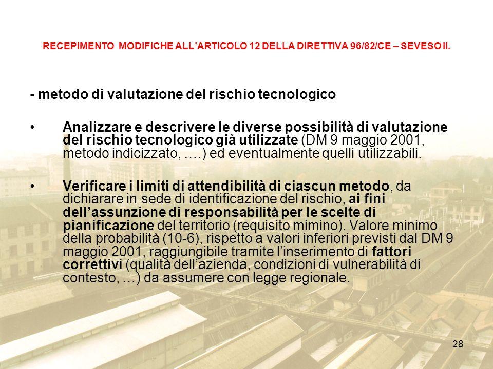 - metodo di valutazione del rischio tecnologico