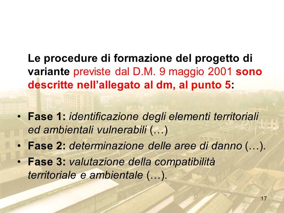 Le procedure di formazione del progetto di variante previste dal D. M
