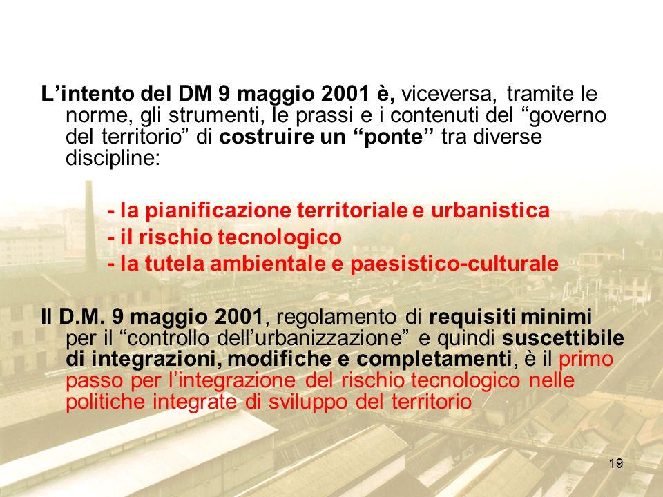 L'intento del DM 9 maggio 2001 è, viceversa, tramite le norme, gli strumenti, le prassi e i contenuti del governo del territorio di costruire un ponte tra diverse discipline: