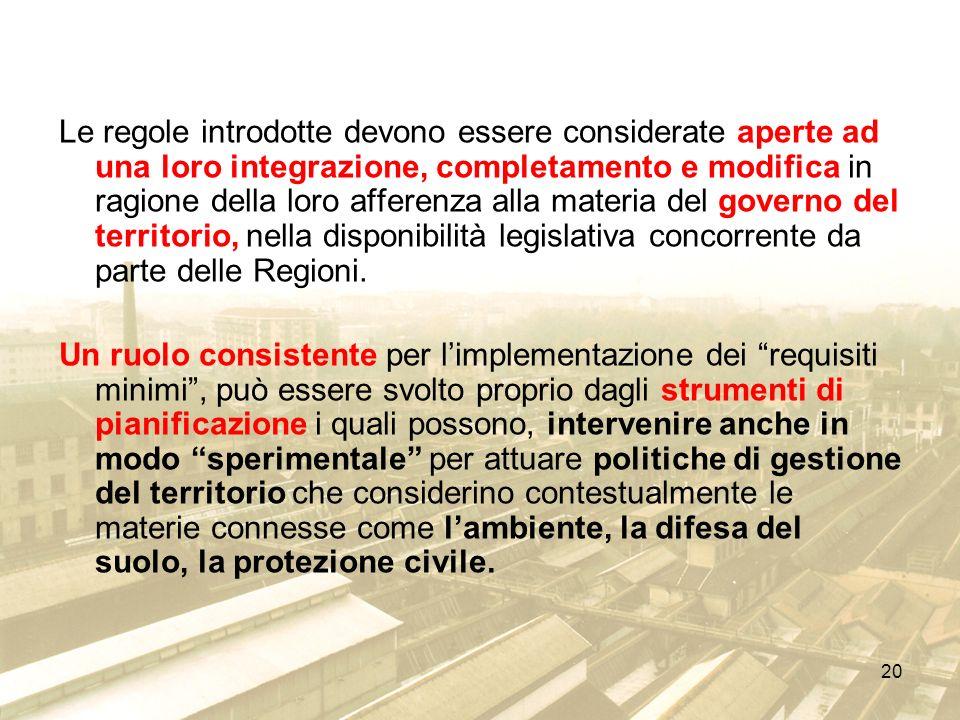 Le regole introdotte devono essere considerate aperte ad una loro integrazione, completamento e modifica in ragione della loro afferenza alla materia del governo del territorio, nella disponibilità legislativa concorrente da parte delle Regioni.