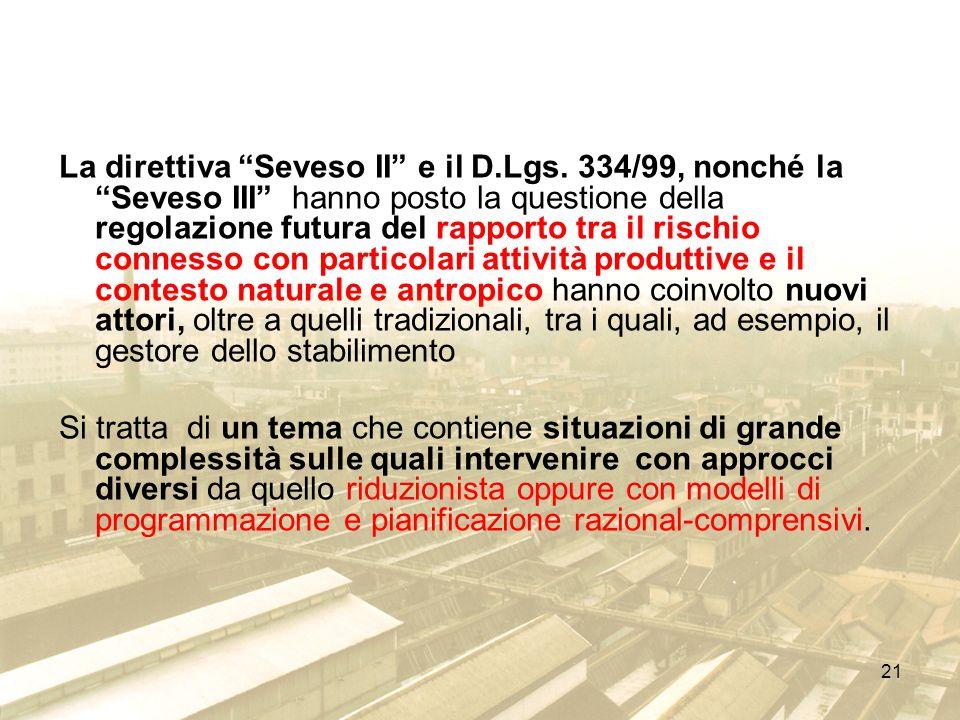 La direttiva Seveso II e il D. Lgs