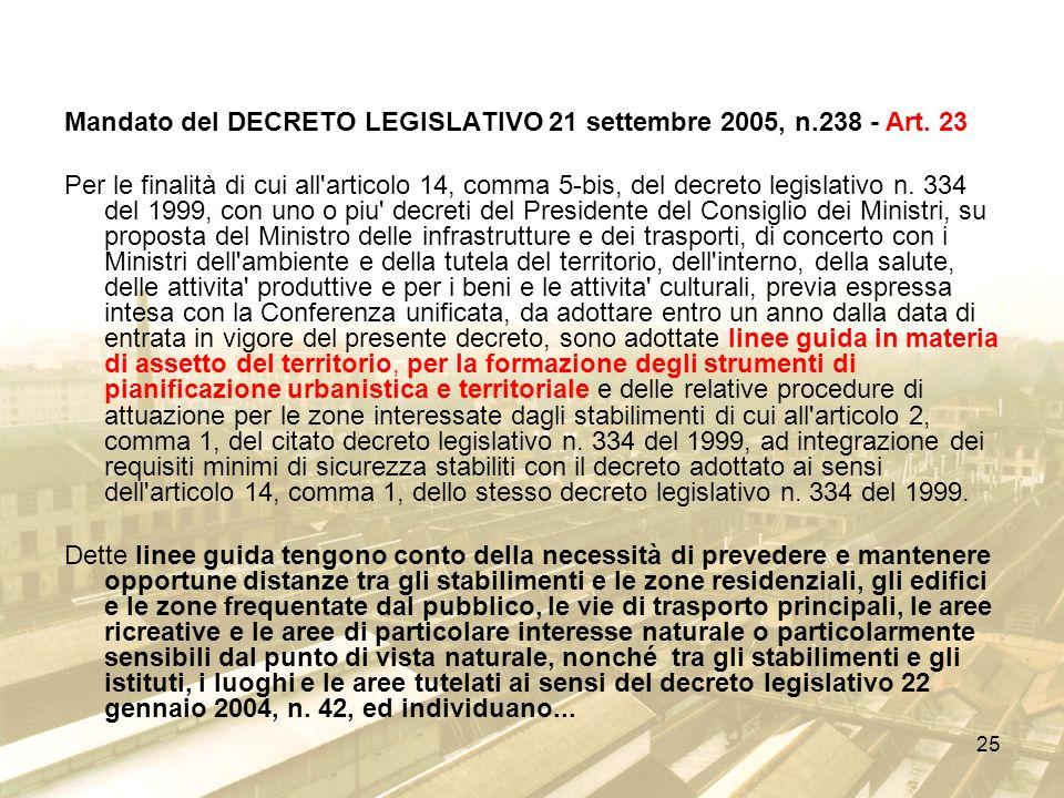 Mandato del DECRETO LEGISLATIVO 21 settembre 2005, n.238 - Art. 23