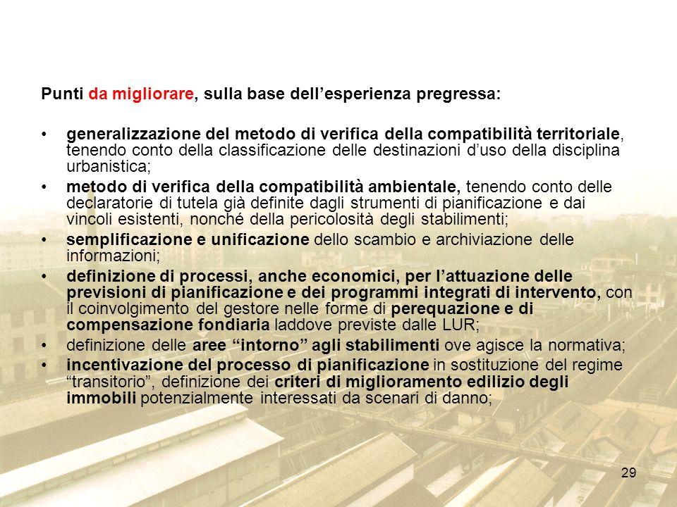 Punti da migliorare, sulla base dell'esperienza pregressa:
