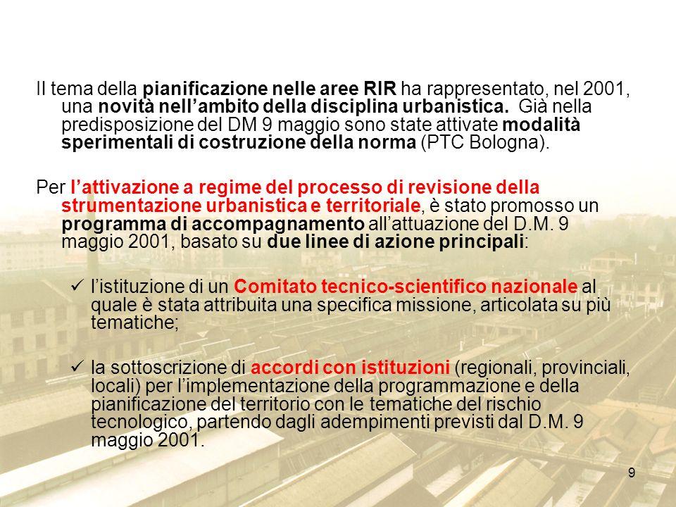 Il tema della pianificazione nelle aree RIR ha rappresentato, nel 2001, una novità nell'ambito della disciplina urbanistica. Già nella predisposizione del DM 9 maggio sono state attivate modalità sperimentali di costruzione della norma (PTC Bologna).