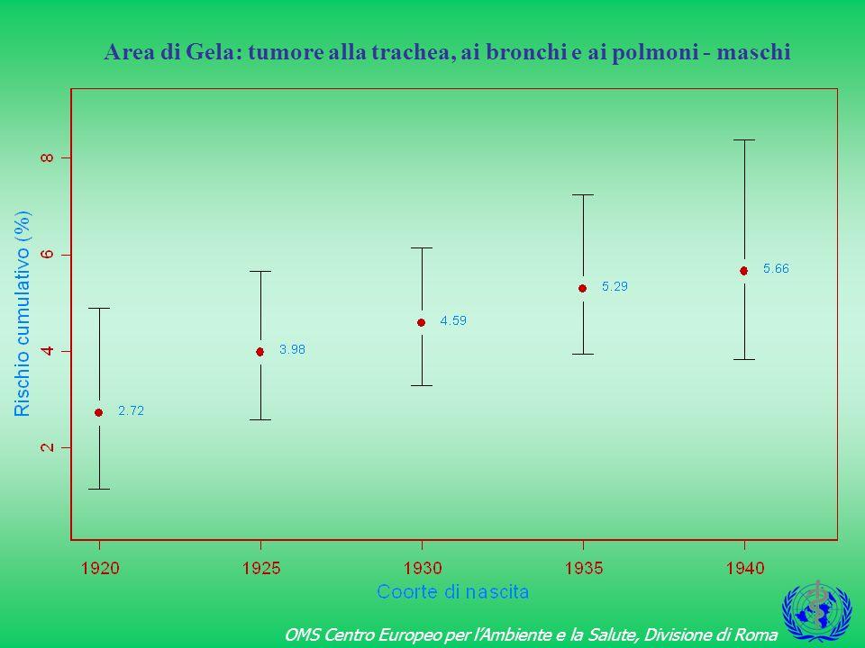 Area di Gela: tumore alla trachea, ai bronchi e ai polmoni - maschi
