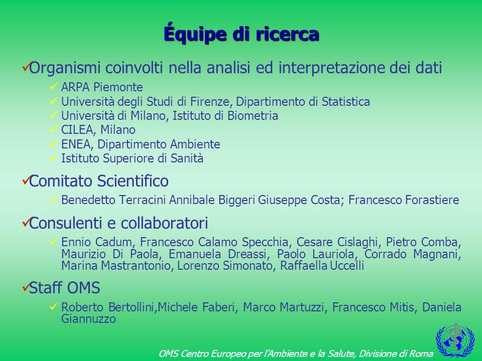 Équipe di ricercaOrganismi coinvolti nella analisi ed interpretazione dei dati. ARPA Piemonte.