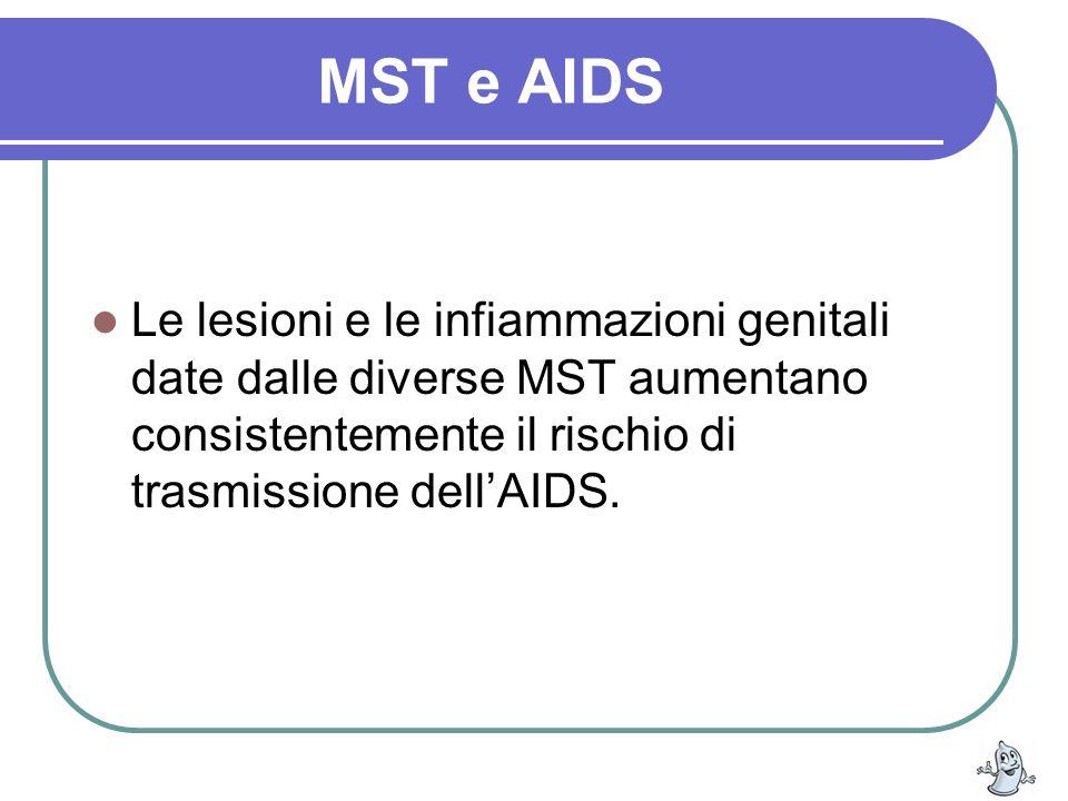 MST e AIDS Le lesioni e le infiammazioni genitali date dalle diverse MST aumentano consistentemente il rischio di trasmissione dell'AIDS.