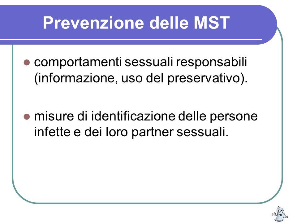 Prevenzione delle MST comportamenti sessuali responsabili (informazione, uso del preservativo).
