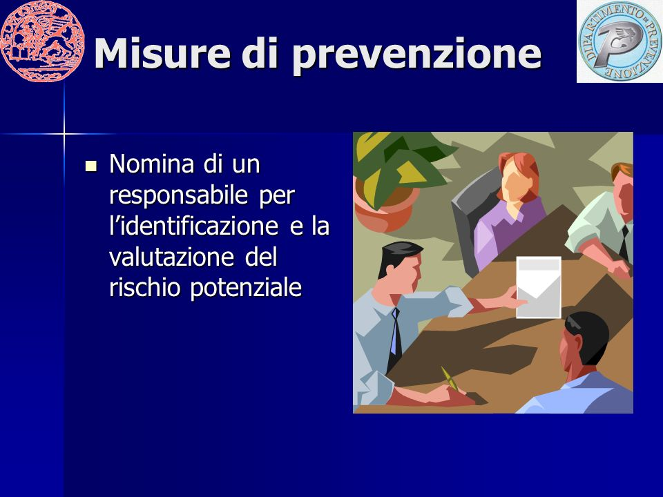 Misure di prevenzione Nomina di un responsabile per l'identificazione e la valutazione del rischio potenziale.