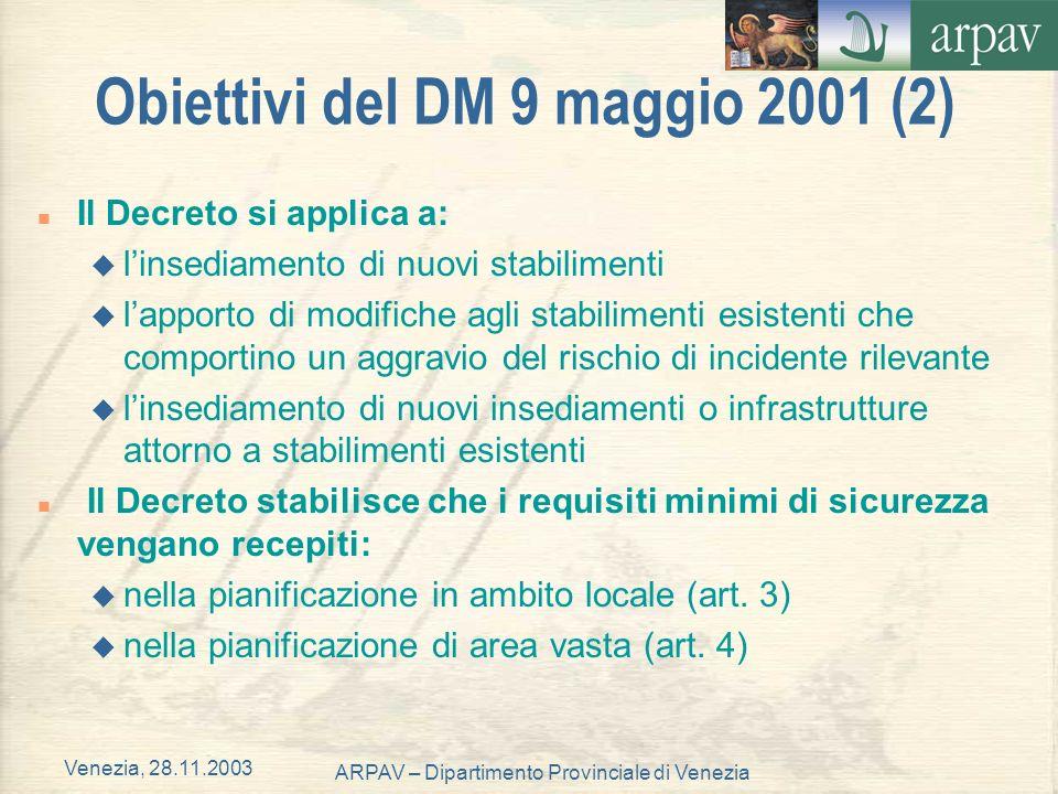 Obiettivi del DM 9 maggio 2001 (2)