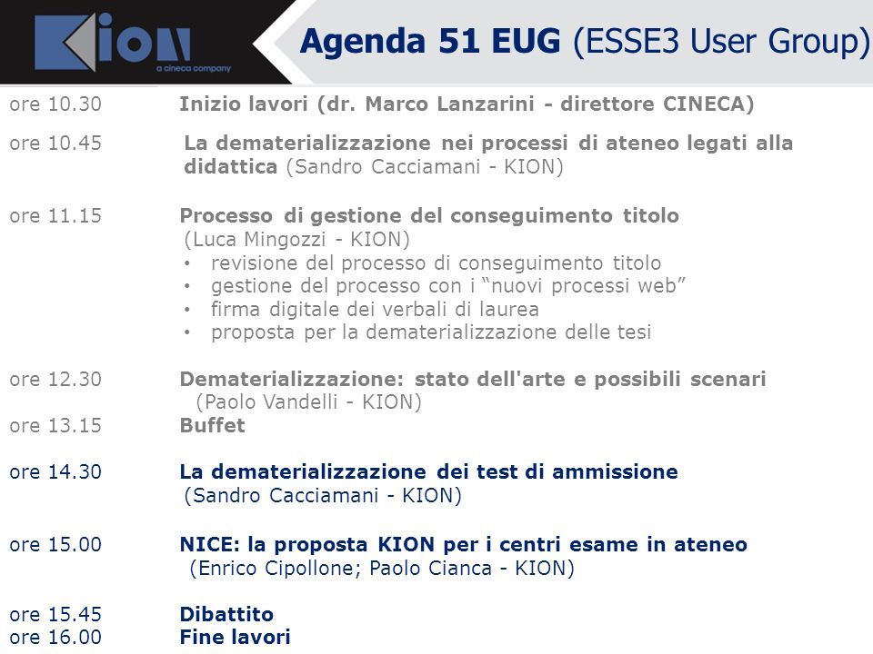 Agenda 51 EUG (ESSE3 User Group)