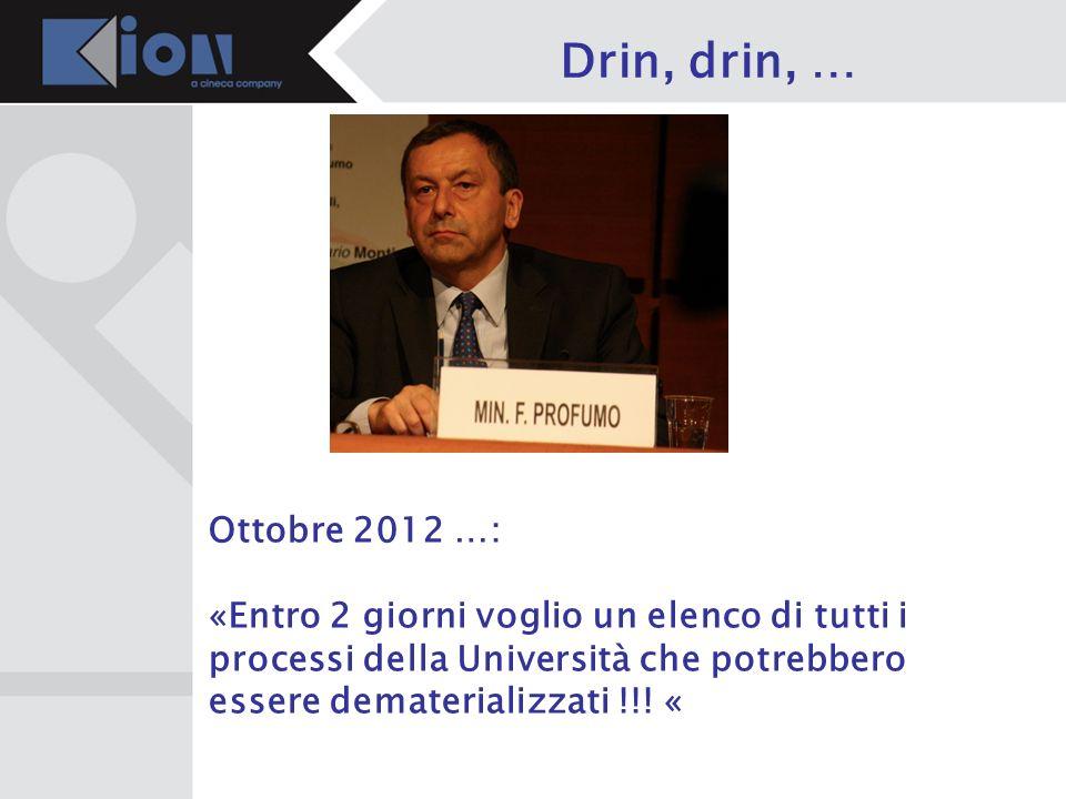 Drin, drin, …Ottobre 2012 …: «Entro 2 giorni voglio un elenco di tutti i processi della Università che potrebbero essere dematerializzati !!.