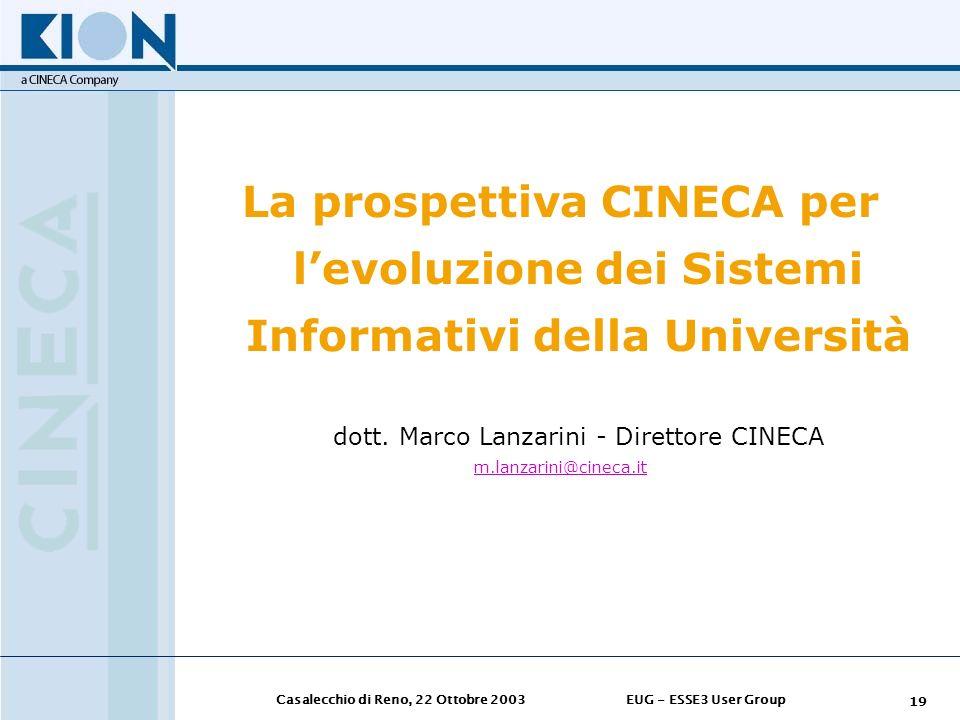 dott. Marco Lanzarini - Direttore CINECA