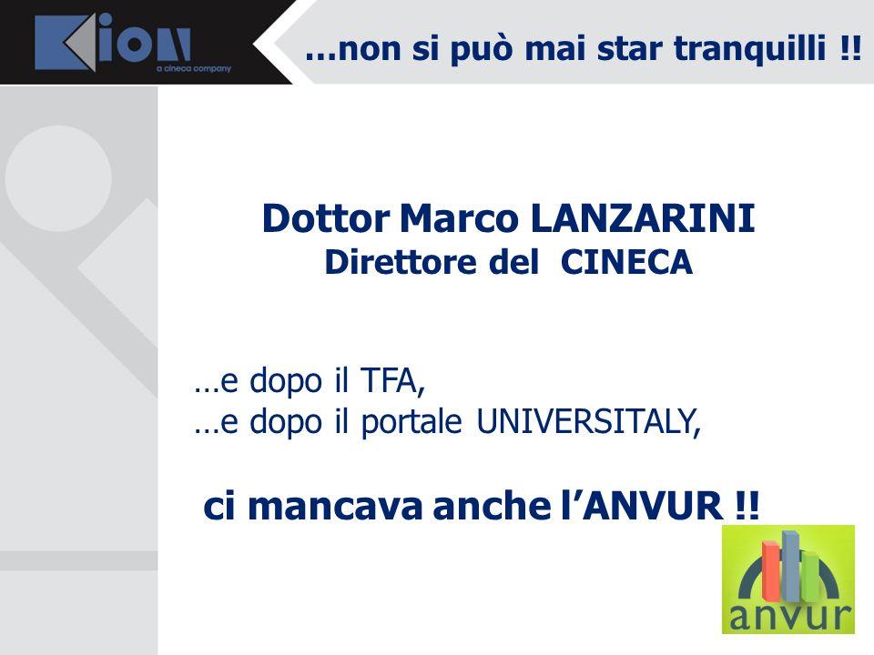 …non si può mai star tranquilli !! Dottor Marco LANZARINI